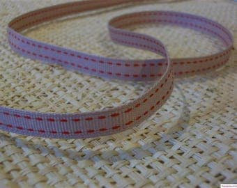 Stripe fancy red-beige color cotton