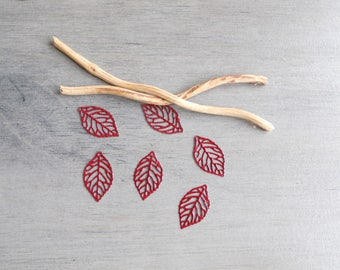 Set of 6 prints enamel filigree leaves dark red