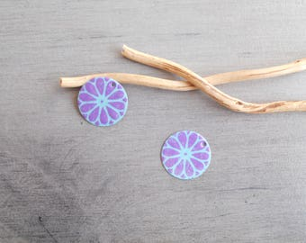 Set of 4 lilac and light turquoise sequins