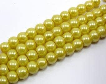 Set of 25 6 mm yellow mother of Pearl glass beads
