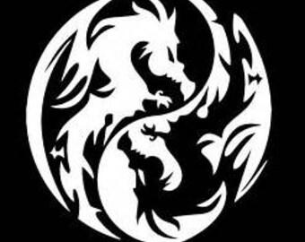 yin yang dragon decal