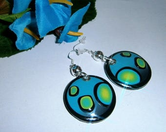 Fancy turquoise and lime gradient polymer clay earrings