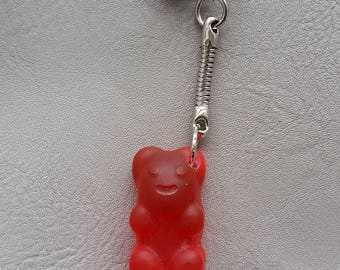 "Key fob candy bear resin red ""Les treats"""