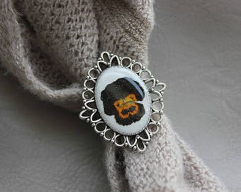 Ring oval decor lace in resin and dried pansy flower