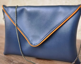 Bag blue metallic double Twist Mustard
