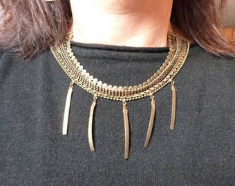 Bib necklace multi strands of fancy chains and leather ties, Gabrielle collection