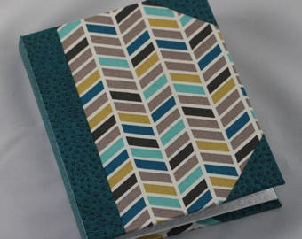 Notebook refillable notebook in fabric and faux leather covered cardboard holder