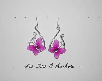 earrings with Fuchsia and aluminum wire Butterfly