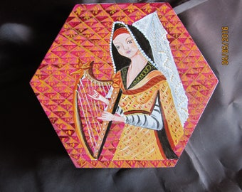 medieval scene Lady playing harp