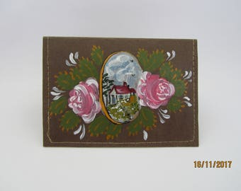 SNAP PAP:porte cards hand painted vegan leather