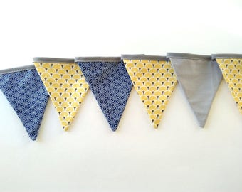 Navy and yellow Bunting, deco room, kids, birthday, baptism