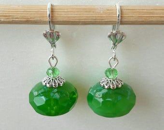 Pearl Earrings Apple green Czech glass opal