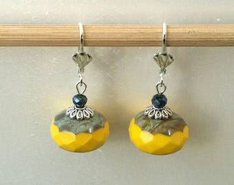 Yellow Czech glass Pearl Earrings