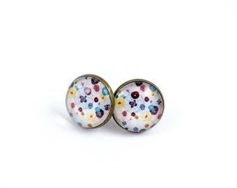 Bronze Stud Earrings *'cabochon * poppies * pink blue yellow