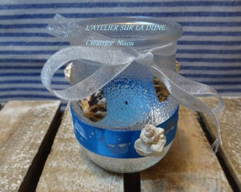 Small candle genuine shells and blue dolphins Ribbon