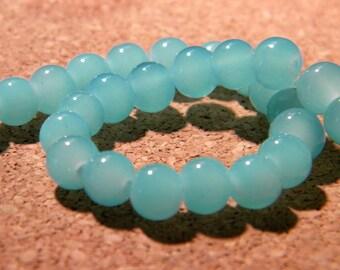 "45 ""jade"" 6 mm glass beads - blue glass - 6 mm glass bead - 7 PE231 clear bead"