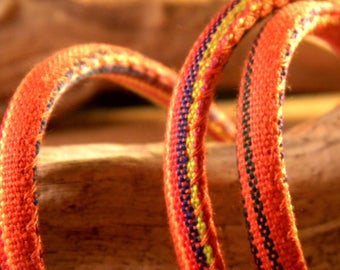 90 CM cotton cord ethnic 6 mm - orange and Red - CE 7