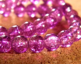 glass Crackle 10 mm - purple - PE146 85 beads