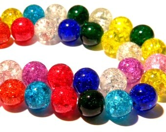 glass - Crackle Glass - multicolor - G141 16 Crackle glass beads - 12 mm bead