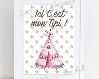 """Illustration A4 poster for nursery Indian """"here is my teepee!"""""""