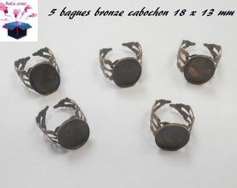 5 ring bronze cabochon 18 x 13 mm.