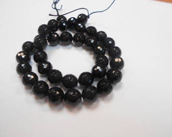 1 strand of 36 round beads black agate faceted 10 mm
