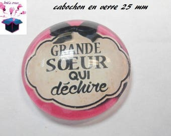 1 cabochon clear 25 mm big sister theme