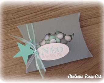 Gift card holder for sweets baptism communion - mustache Theme