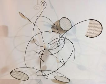 Mobile in annealed iron wire, ceramic beads and paper, hanging decoration