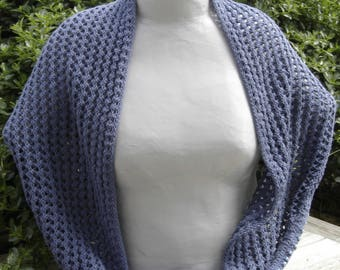 blue cotton lace shawl