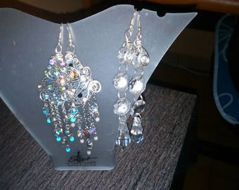 Beautiful long earrings in silver or gold tone with Rhinestones and crystals aluminum wire
