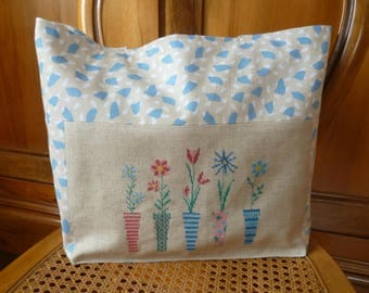 Blue and white embroidered tote bag