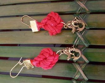 Mount with sailor knot red cord and Mermaid charm earrings