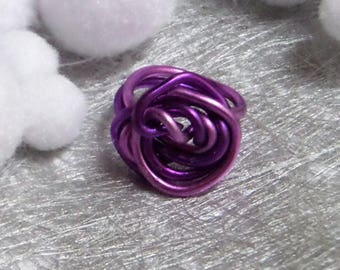 Ring pink aluminum wire, twisted very trendy
