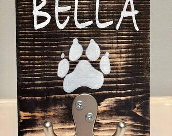 Wooden Dog Leash Hooks w/ Name