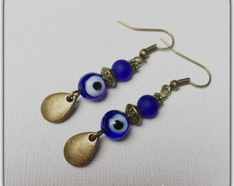 Earrings glass beads and sequins bronzes, drop, blue eye