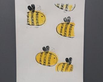 Bumble Bee Acrylic Linocut Print