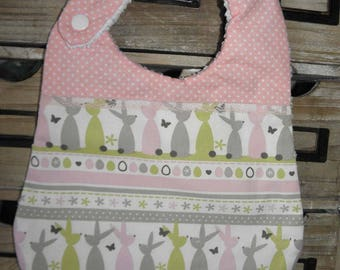 Cotton fabric bib with bunnies, dots and sponge for babies from birth to 12 months and up