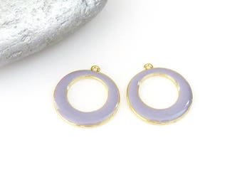 Set of 2 Gold round pendant enameled in purple