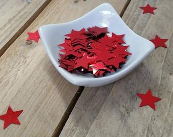 Glitter / confetti red stars 15 mm in diameter