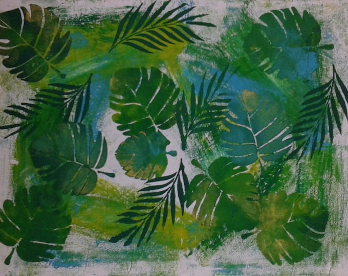 Exotic decoration, exotic painting, palm leaves, fins very trendy, green, decorative wall, spring