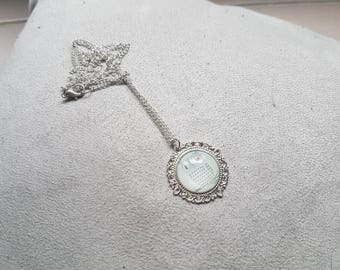 Necklace silver OWL on a white background