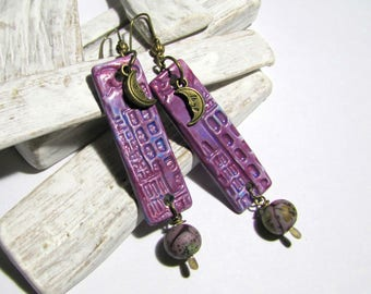 Handmade ceramic earrings and Lampwork Glass Bead lampwork beads city in the Moonlight