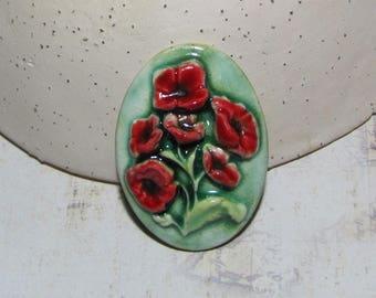 Bouquet de coquelicots, cabochon ovale en céramique artisanale, camée vert rouge