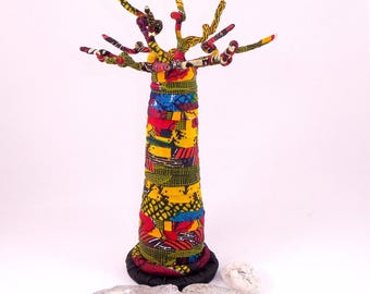 "Jewelry display tree ""Baobab"" in African Wax print, multicolor dominant tones: red and yellow"