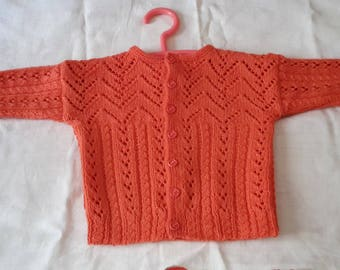 VEST BABY ORANGE wool size 6 months