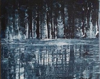 "SOLD!!! ~ Winter Reflection~ 4"" x 4"" Abstract Acrylic Original   SOLD!!!"