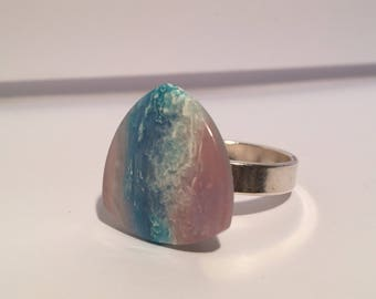 Turquoise blue marbled ring, shades of white, pink and green