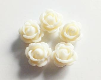 "Set of 5 small roses ""ecru"" 10mm"