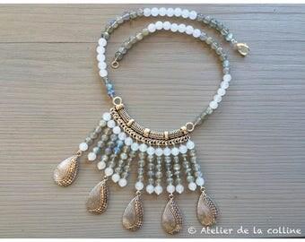 Ethnic labradorite and Moonstone bib necklace